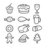 Iconos del esquema de la comida y de la bebida fijados para el día de la Navidad Imágenes de archivo libres de regalías
