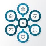Iconos del esquema de la droga fijados Colección de latido del corazón, ayuda del puño, enfermera And Other Elements También incl stock de ilustración