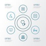 Iconos del esquema de la droga fijados Colección de perjudicado, cama, elementos del hospital También incluye símbolos tal como e libre illustration