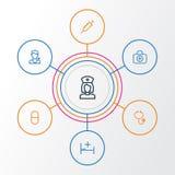 Iconos del esquema de la droga fijados La colección de vitamina, oye, doctor a And Other Elements También incluye símbolos tal co ilustración del vector