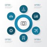Iconos del esquema de la exploración fijados Colección de tranvía, vídeo, Sunny And Other Elements También incluye símbolos tal c ilustración del vector