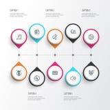Iconos del esquema de la música fijados stock de ilustración