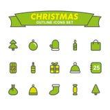 Iconos del esquema de la Navidad fijados Fotografía de archivo libre de regalías