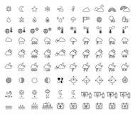 Iconos del esquema de la previsión metereológica y de la meteorología Imágenes de archivo libres de regalías