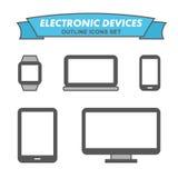 Iconos del esquema de los dispositivos electrónicos fijados Foto de archivo libre de regalías