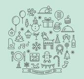 Iconos del esquema de los elementos de la fiesta de Navidad fijados Foto de archivo libre de regalías