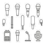 Iconos del esquema de los micrófonos stock de ilustración