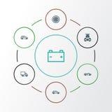 Iconos del esquema del automóvil fijados Colección de ventana trasera, lavado, And Other Elements modelo convertible También incl libre illustration