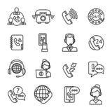 Iconos del esquema del centro de atención telefónica fijados ilustración del vector