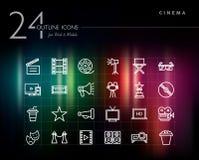 Iconos del esquema del cine y de la película fijados Imagen de archivo libre de regalías