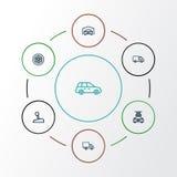 Iconos del esquema del coche fijados Colección de lavarse, caravana, Lorry And Other Elements También incluye símbolos tal como e stock de ilustración