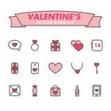 Iconos del esquema del día de tarjetas del día de San Valentín fijados Imagenes de archivo