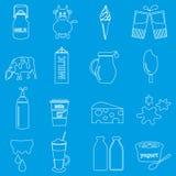 Iconos del esquema del tema de la leche y del producto lácteo fijados Imagen de archivo libre de regalías
