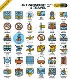 Iconos del esquema del transporte y del viaje Fotos de archivo libres de regalías