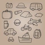 Iconos del esquema del viaje fijados Foto de archivo