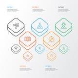 Iconos del esquema del viaje fijados Colección de viajero, colina, mapa Pin And Other Elements También incluye símbolos tal como  ilustración del vector