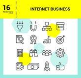 Iconos del esquema fijados de negocio de Internet Fotos de archivo libres de regalías
