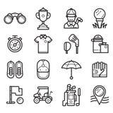 Iconos del esquema del golf del juego stock de ilustración
