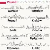 Iconos del esquema del vector de los horizontes de las ciudades de Polonia ilustración del vector