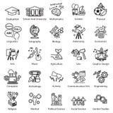 Iconos del estudio de la educación fijados Fotos de archivo libres de regalías