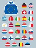 Iconos del euro de la bandera del monedero foto de archivo libre de regalías