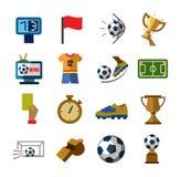 Iconos del fútbol stock de ilustración