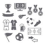 Iconos del fútbol fijados Foto de archivo libre de regalías