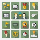 Iconos del fútbol fijados Fotos de archivo