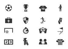 Iconos del fútbol fijados Imagenes de archivo