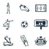 Iconos del fútbol fijados Icono de la bola de Succer, icono del silbido, icono de la tarjeta roja del fútbol y más Colección supe Fotos de archivo libres de regalías