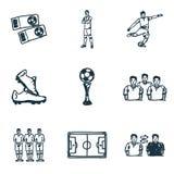 Iconos del fútbol fijados Icono del jugador, icono de la taza, botas icono, icono del campo de fútbol y más Colección superior de Fotos de archivo