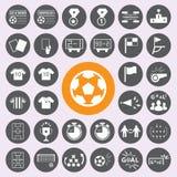 Iconos del fútbol fijados Vector/EPS10 Imagen de archivo libre de regalías
