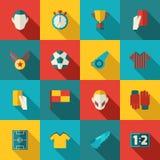 Iconos del fútbol planos Imagenes de archivo