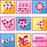 Iconos del feliz cumpleaños Fotografía de archivo