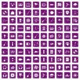 100 iconos del festival de música fijaron grunge púrpura Fotos de archivo libres de regalías