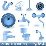 Iconos del fontanero stock de ilustración