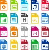 Iconos del formato de archivo Foto de archivo libre de regalías