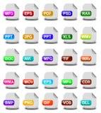 Iconos del formato de archivo del ordenador Foto de archivo libre de regalías
