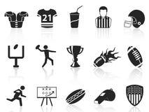 Iconos del fútbol americano fijados Imagenes de archivo