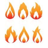 Iconos del fuego Foto de archivo libre de regalías
