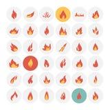 Iconos del fuego fijados stock de ilustración