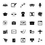 Iconos del funcionamiento en línea en el fondo blanco Imágenes de archivo libres de regalías