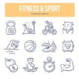 Iconos del garabato de la aptitud y del deporte stock de ilustración