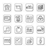Iconos del garabato de la educación Fotos de archivo libres de regalías