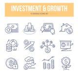 Iconos del garabato de la inversión y del crecimiento