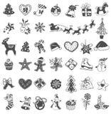 Iconos del garabato de la Navidad Fotografía de archivo libre de regalías
