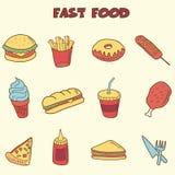 Iconos del garabato de los alimentos de preparación rápida Foto de archivo