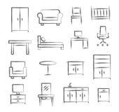 Iconos del garabato de los muebles ilustración del vector