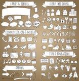 Iconos del garabato del vector fijados Fotografía de archivo libre de regalías