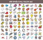 Iconos del garabato del vector fijados Imagen de archivo